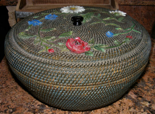 """Large 47"""" Hand Woven Antique Lidded Blue Sewing Basket ROUND Storage BOX Flowers"""