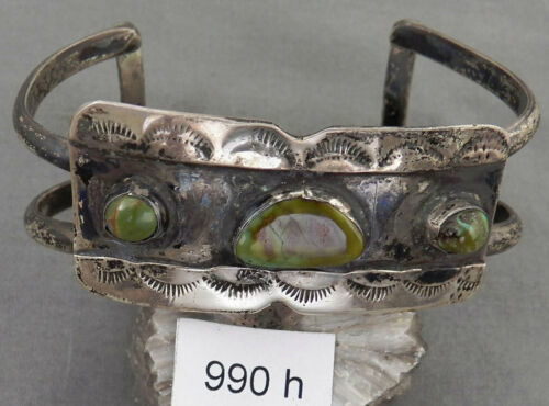 Early Navajo Sterling Silver & Turquoise Bracelet