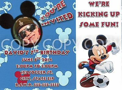 Mickey Mouse Soccer Birthday Party Invitations with photo 8 - Photo Mickey Mouse Invitations