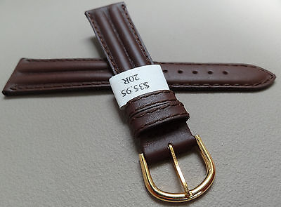 (France Brown 20mm Water Resistant Padded Calf Watch Band Gold Tone Buckle $35.95)