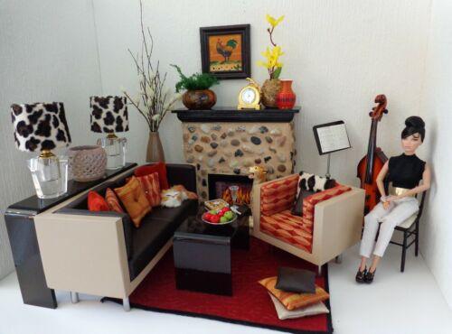 Retro Mad Man Mid Century Style Sofa Set 1/6 Scale FR Barbie Poppy Parker Dolls