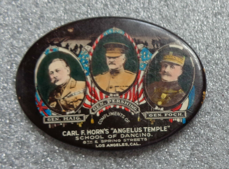 rare celluloid pocket mirror WW1 memorial advertising dance school