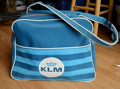 Vtg 1960's KLM Royal Dutch Airline Airplane Travel Bag Carry On Luggage Baggage