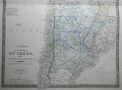 South America Peru Bolivia La Plata 1835 Brue large detailed map hand color