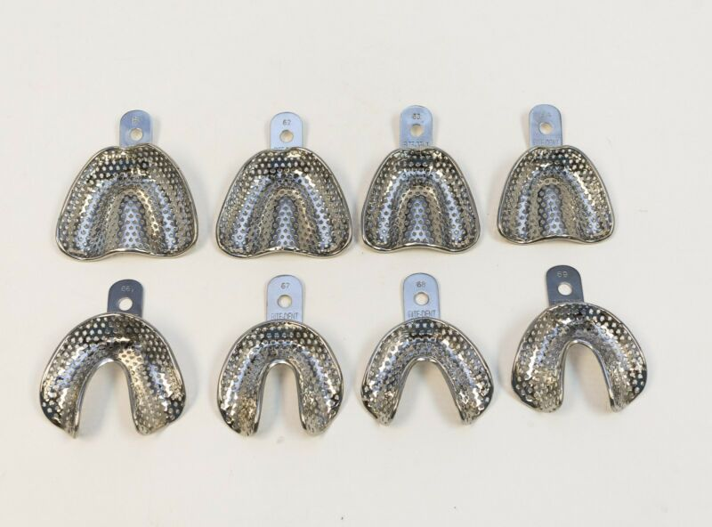 DENTAL EDENTULOUS STAINLESS STEEL PERFORATED IMPRESSION TRAYS AUTOCLAVABLE 8/SET