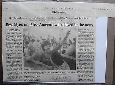 Obituary Boston Globe 1 6 2015 Beth Myerson 90 Miss America Of 1945   Tv Star