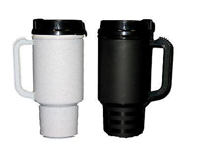 2 Coffee Cup Travel Mugs Air Insulated Holds 18 Oz 1 ea Granite&Black Made USA*  (Plastic Coffee Mugs)