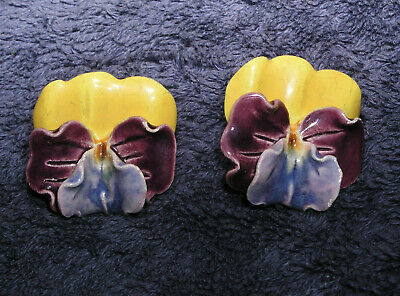 Vintage Porcelain Pansies Gold Tone Screw Earrings Made in England 1950s Mint