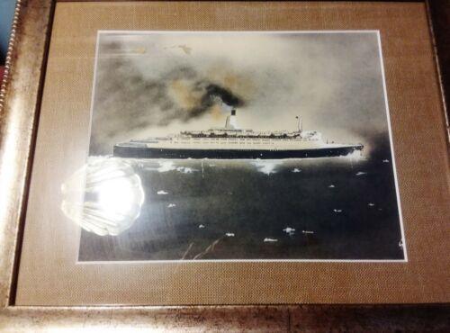 Original Watercolour Painting Cunard oceanliner cruise ship QE2 Queen Elizabeth2