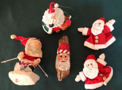 5 Vintage Santa Claus Ornaments, Skier, Log, Ceramic Roly Poly, Handmade Puppets