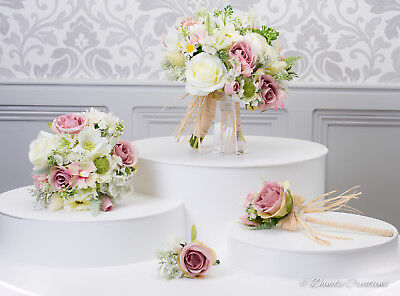 (Silk Mixed Wild Flower Bridal Bouquets In Ivory & Dusky Pink,