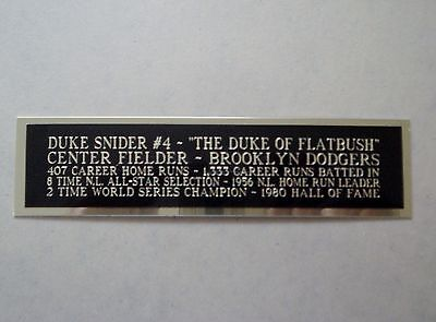 Duke Snider Dodgers Nameplate For An Autographed Baseball Jersey Case 1.5 X 6