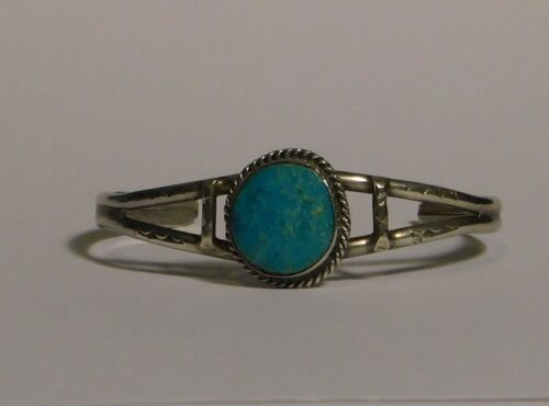 Round Turquoise Split Shank Cuff Bracelet