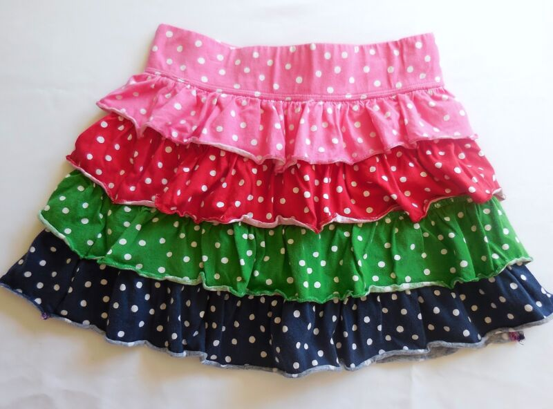Crazy 8 Pink, Red, Green, Blue Polka Dot Ruffle Tiered Skirt, M (7-8)