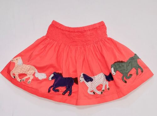 Mini Boden Running Horses Lined Smocked Coral Pink Skirt, 1.5-2T yrs.