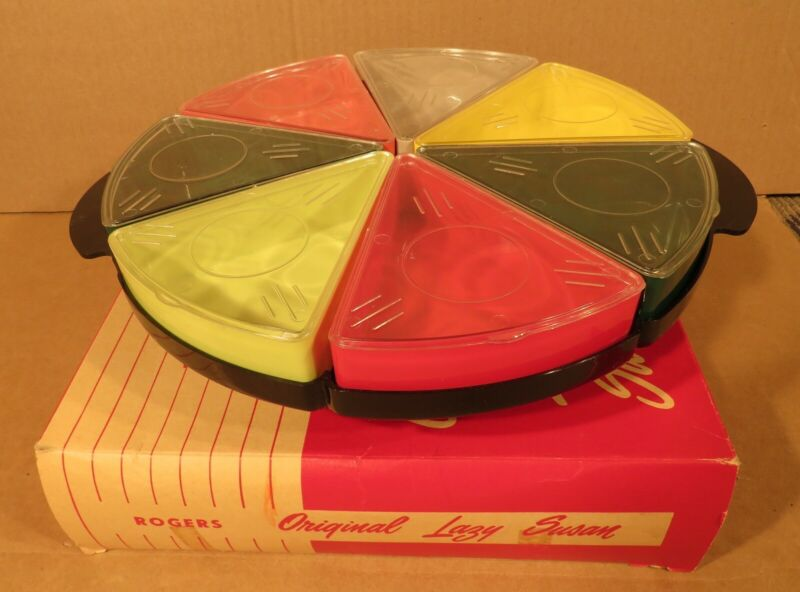 1940s Mid-Century Modern Rogers Plastic Lazy Susan in Original Box /Made in USA