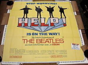 Beatles-Help-Original-1965-Rare-Oversized-6-Sheet-81in-x-81in-Movie-Poster