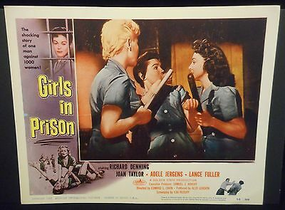 Girls In Prison 1956 US orig Lobby Card Sexploitation Joan Taylor VF