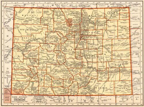 1937 Vintage COLORADO Map Antique State Map of Colorado Gallery Wall Art 8921