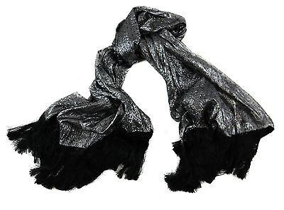 New SANTOSTEFANO by Italo Ferretti Silver Long Jacquard Scarf Headscarf NWT $175