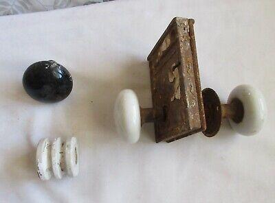 2 White Ceramic Door Knobs 0n Lock Mechanism & Black Door Knob Vintage