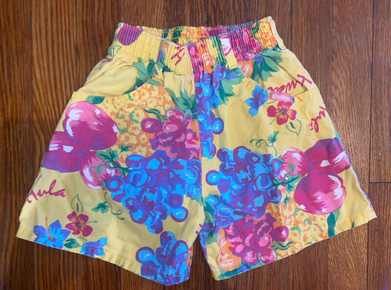 Vintage Child Toddler Girl Oshkosh Fruit Hawaiian Floral Shorts 6X