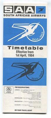 SOUTH AFRICAN AIRWAYS SAA TIMETABLE APRIL 1984 SAL