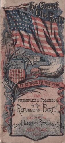 1892 NATIONAL LEAGUE REPUBLICAN CLUBS PRINCIPLES & POLICIES CONGRESS ST BOSTON