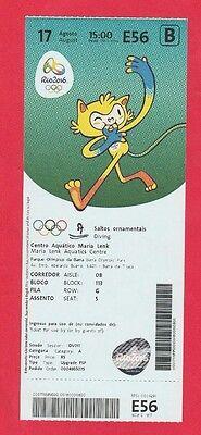 Orig.Ticket   Olympische Spiele RIO DE JANEIRO 2016 / Turmspringen 10 m  !!  TOP