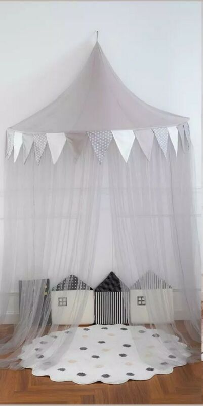 Baby Canopy Bed Draping Round Dome Net Tent Childs Bedroom Reading Nook Corner
