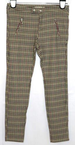 NWT Zara Girls Brown Houndstooth Stretch Skinny Leg Pants 11/12  Zip Pockets