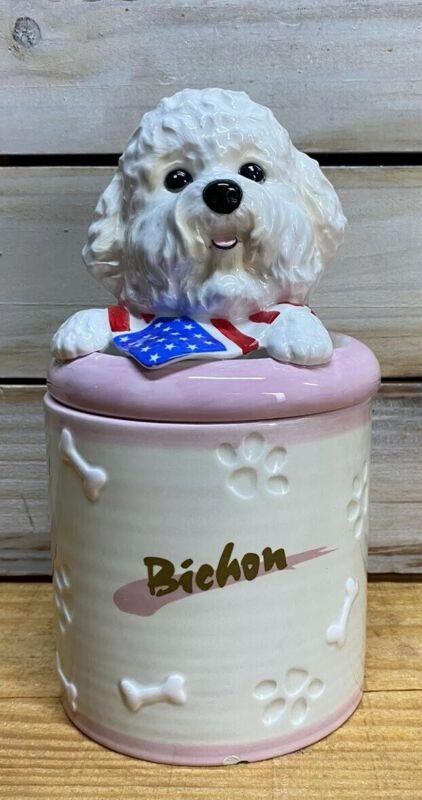 Vintage Bichon Dog Treat Biscuit Ceramic Jar DNC Collections