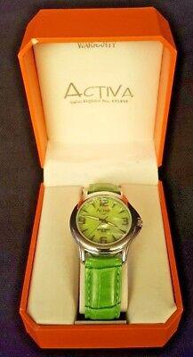 NEW Women's Activa Green Watch in Box Water Resistant Model#SL233-003