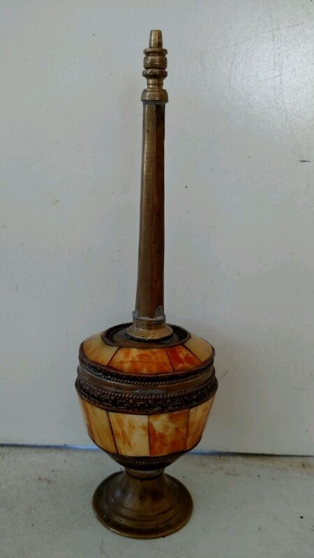 """Antique Beautiful Gulabdani? Bone and Brass 8"""" Tall Rose or Holy Water Sprinkler"""