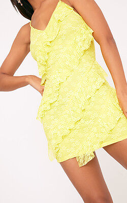 PRETTY LITTLE THING BRITTANY LACE FRILL BODYCON DRESS Size 6 Uk KG074 AA 03