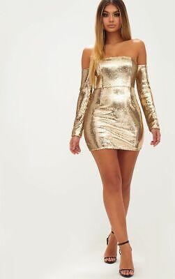 Gorgeous Gold Sequin Long Sleeve Bardot Bodycon Mini Dress BNWT RRP £50 size 12