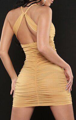 Sexy Miss Mini Vestido para Mujer Reunido Stretch Noche Brillo Oro XS/S...