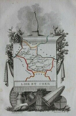Miniature antique map, LOIRE ET CHER, BLOIS, VENDOME, FRANCE, Perrot, 1824