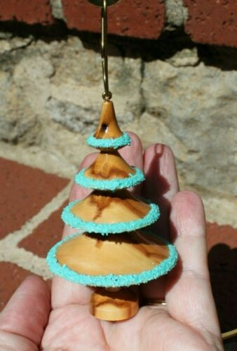 Dennis Liggett Hand Turned Aspen Tree Wood Crushed Turquoise Christmas Ornament
