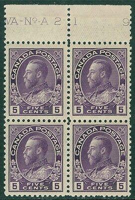 EDW1949SELL : CANADA 1911-25 Unitrade #112a Imprint Blk of 4 VF MNH Cat $600+