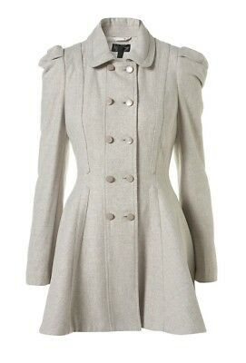 TOPSHOP Grey Cream Girly Full Skirt Princess Fit Flare Military Wool Coat 14 42](Combat Boots Girly)