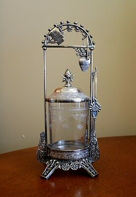 VICTORIAN ANTIQUE PICKLE CASTOR HAND ETCHED GLASS JAR ROCKFORD SILVER PLATE CO.