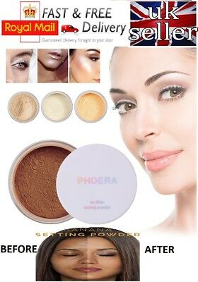 Translucent Face Powder (PHOERA® Loose Face Translucent No Filter Setting Powder Foundation Makeup + Puff)