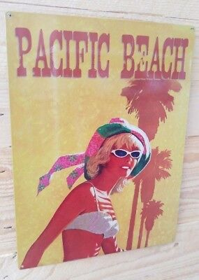 Vintage girl at beach customizable heavy duty steel sign-home -