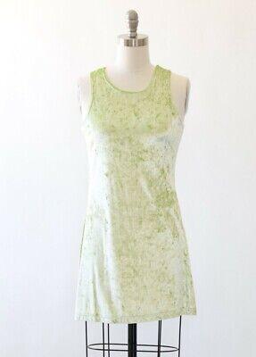 Vintage 90s neon lime green Velvet mini Dress S M  - Neon Green Velvet