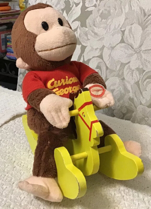 Curious George MUSICAL ROCKER Plush on a Rocking Horse - Applause, #0207