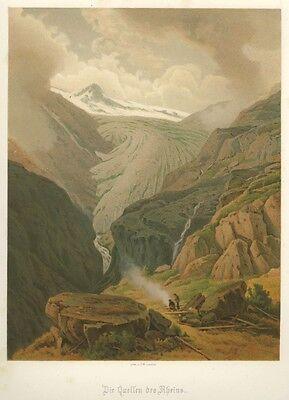 Quellen des Rheins, Schweiz, Original-Lthographie von ca. 1880 Rhein ()