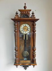 Large Antique Vienna Regulator Wall Clock 2 Brass Weights