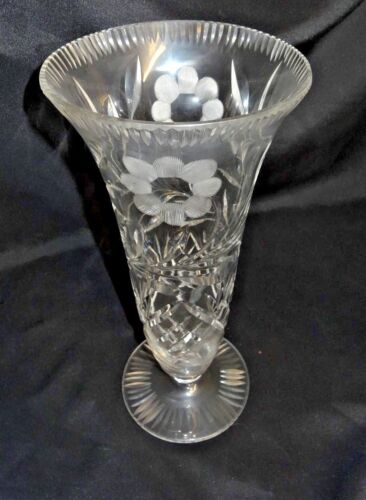 "Vintage Crystal Glass Etched Flowers 12"" Footed Vase"