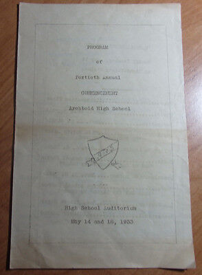 MAY 1933 FORTIETH ANNUAL COMMENCEMENT ARCHBOLD HIGH SCHOOL PROGRAM
